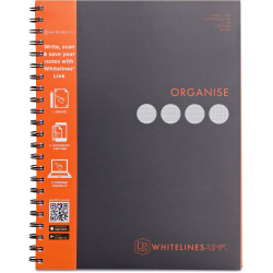 Whitelines Book Spiral A4 Hard Cover 4 Subject Ruled & Square 240 Page Black