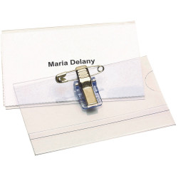 Rexel Convention Card Holder With Pin & Clip 90x54mm Box Of 50