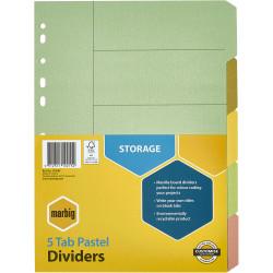 Marbig Manilla Divider A4 5 Tab Pastel Colours
