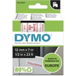 DYMO D1 LABEL CASSETTE TAPE 12mm x 7m Red on White