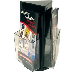 Deflecto Brochure Holder DL Counter Top Rotating Black