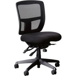 Miami II Mesh Medium Back Chair No Arms Black Mesh and Fabric Seat