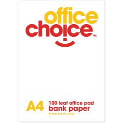 OFFICE CHOICE OFFICE PAD A4 100 Leaf Bank Ruled 55gsm