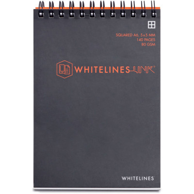 Whitelines Book Spiral A6 8mm Ruled 80gsm 140 Page Top Bound